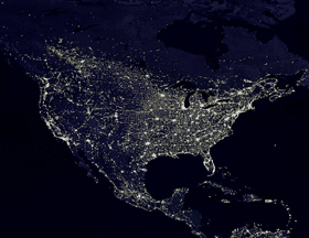 Satellite view of earth lights
