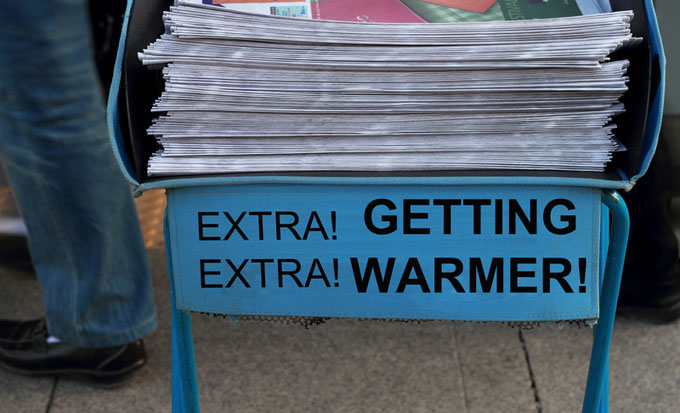 Getting warmer news stand