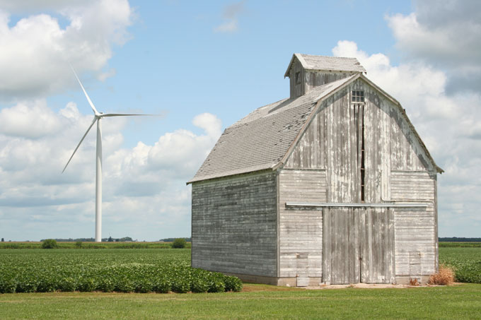 Farm and wind turbine