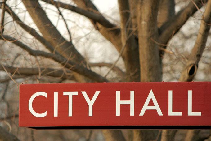 City hall sign