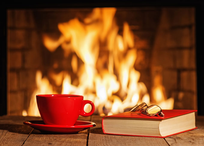 Book, glasses, fireplace
