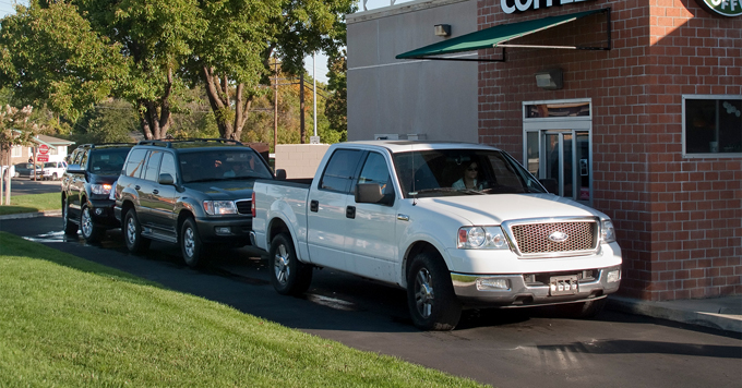 Line of idling vehicles