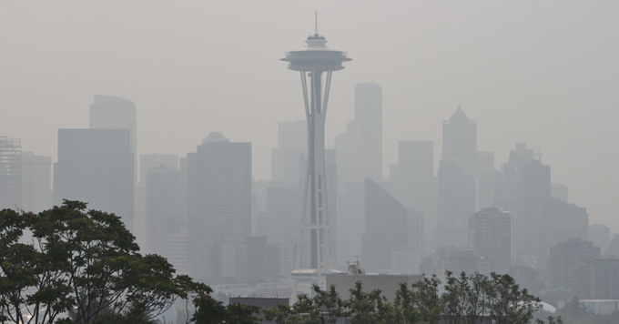 Smoke-filled sky in Seattle