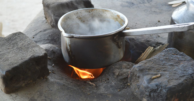 Cooking on open fire