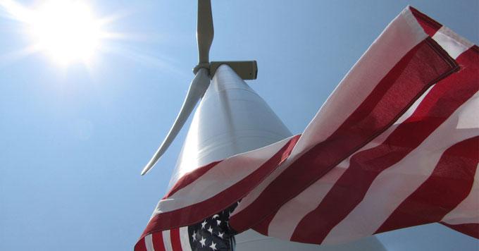 Wind turbine and flag