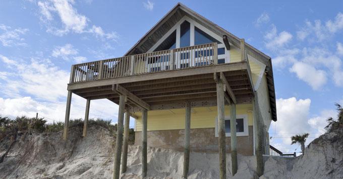 Beach house and erosion