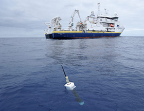 NOAA Argo buoy and ship