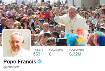 Pope Francis twitter page screenshot