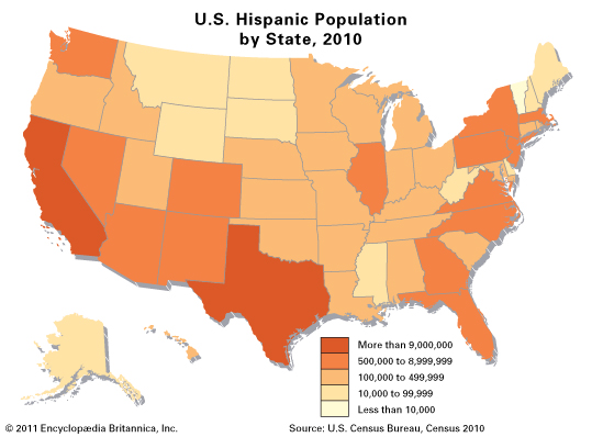 U.S. Hispanic population by state, 2010 census