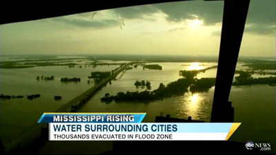 Screenshot of Mississippi River flooding news coverage in 2011