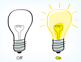 On and off lightbulb