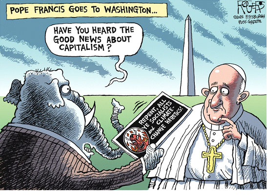 Editorial cartoonists on Pope in U.S. - Yale Climate Connections