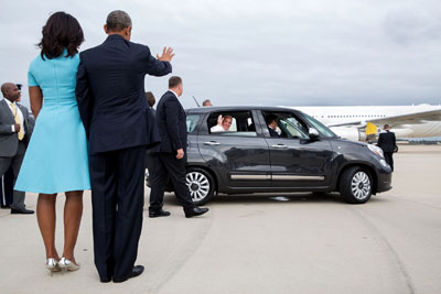 White House photo of Pope leaving in Fiat