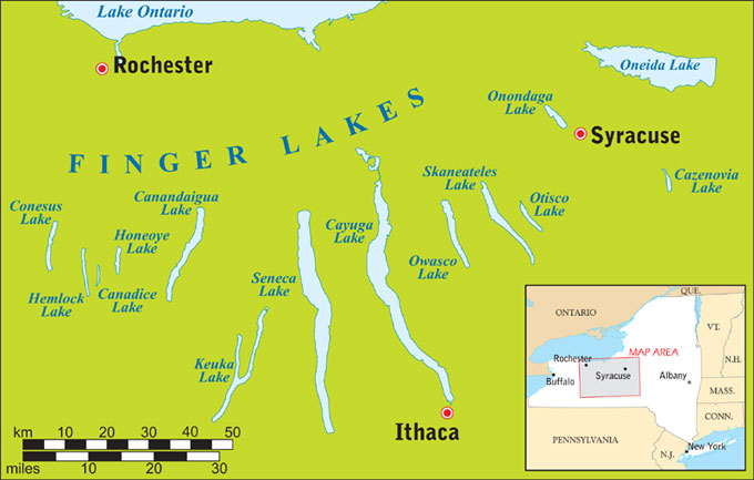 Finger Lakes map and Oneida Lake