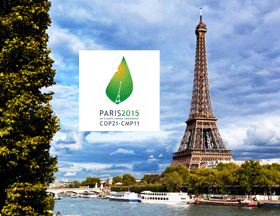 COP 21 logo and Paris photo