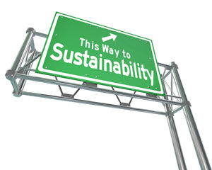 This way to sustainability road sign