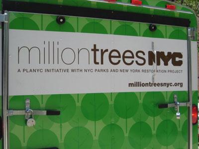 Million Trees NYC signage