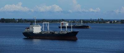 Cargo ships near Marshall Islands.