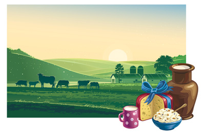 Farm and dairy food graphic
