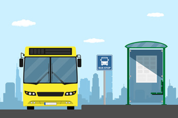 Bus and bus stop graphic