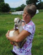 Karen Freudenberger holding goat