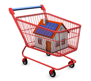 House with solar panels in cart