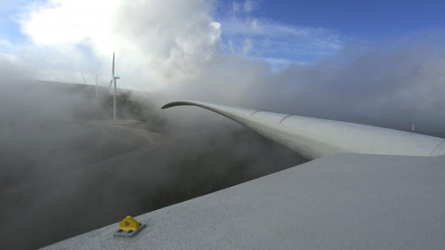 Aerial view of wind turbines