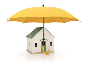 Umbrella over house image