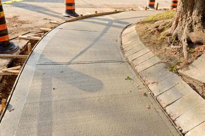 Cement sidewalk