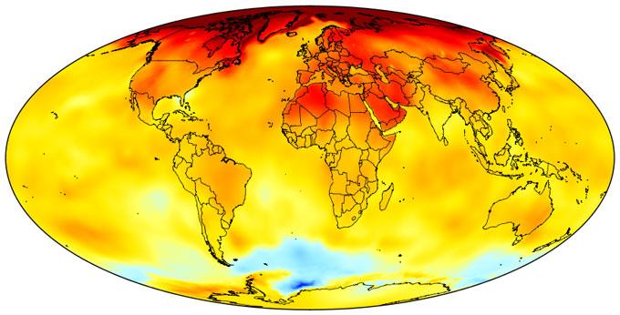 Global temp change since 1970