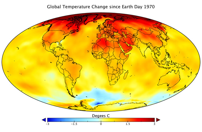 Global temp change since 1970