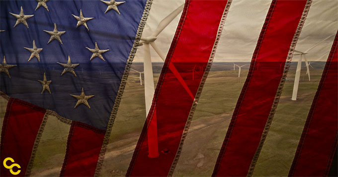 Flag an wind turbines