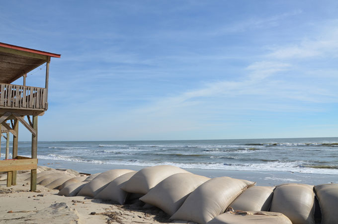 Beach house and sandbags