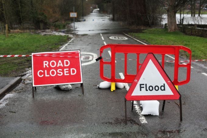 Road closed and flooding