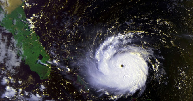 Map showing Hurricane Andrew