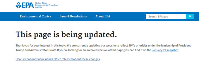 EPA climate page