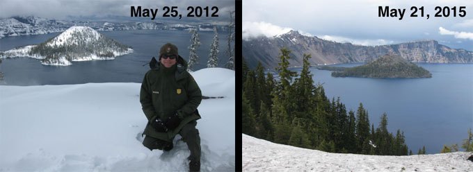 Crater Lake 2012 and 2015