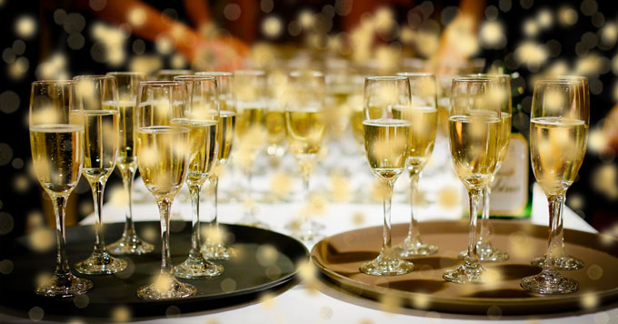 Champagne-filled glasses