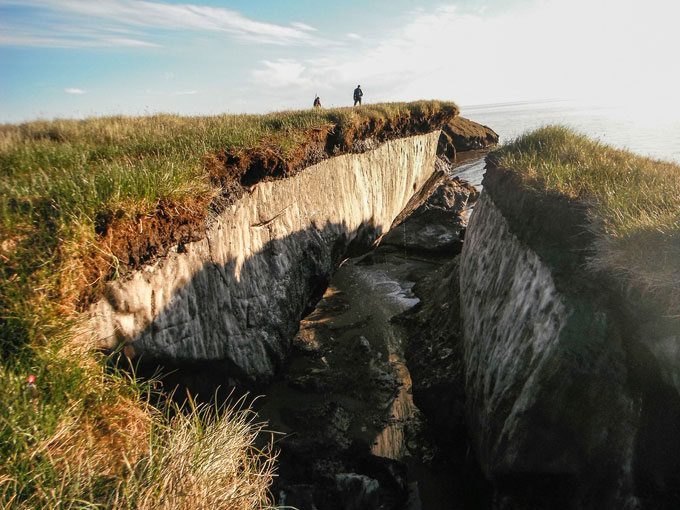 Collapsed block of permafrost