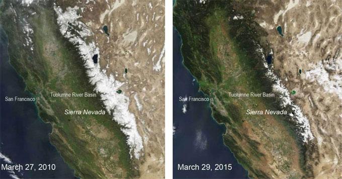 California snowpack 2010 vs 2015