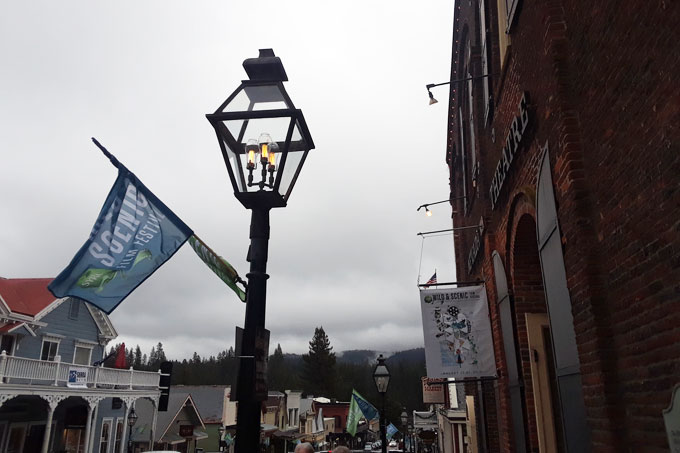 Streetlamp and festival sign