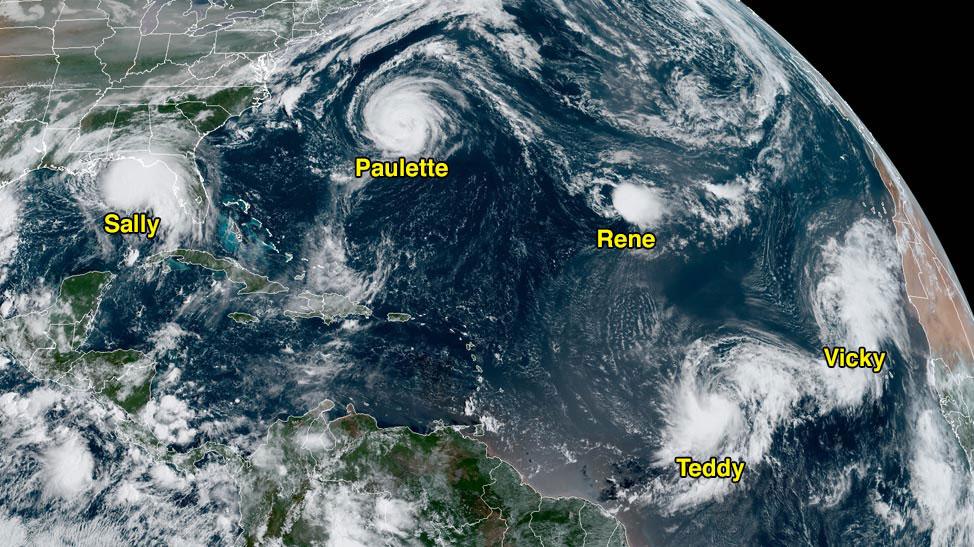 Satellite image of storms