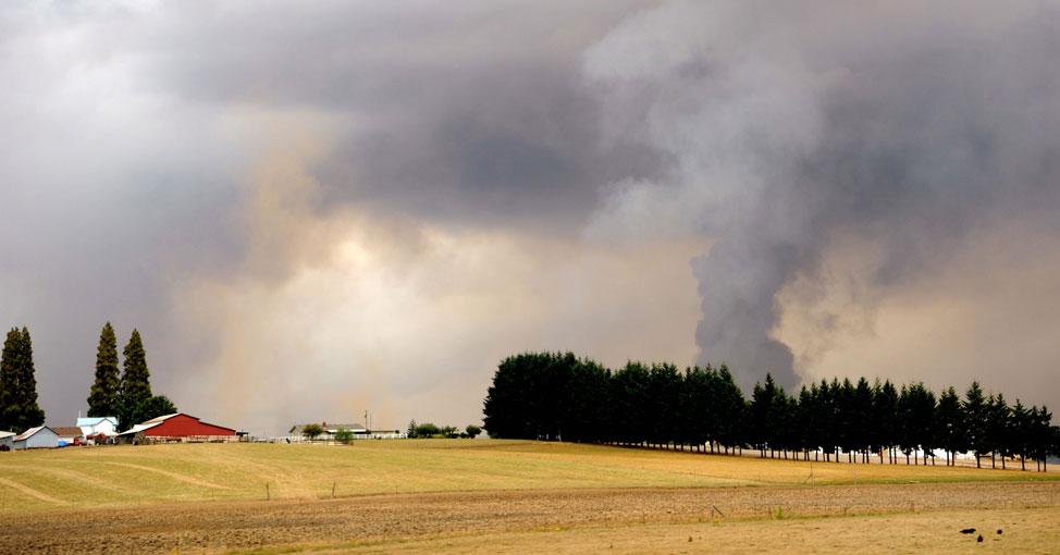 Farmland wildfire smoke