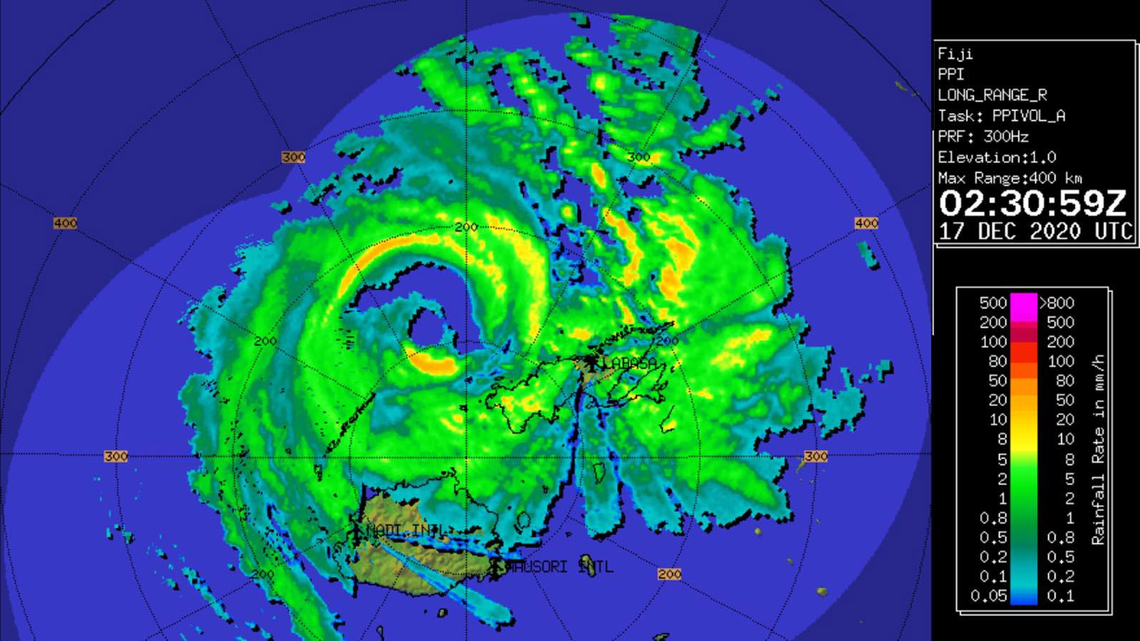Tropical Cyclone Yasa radar image