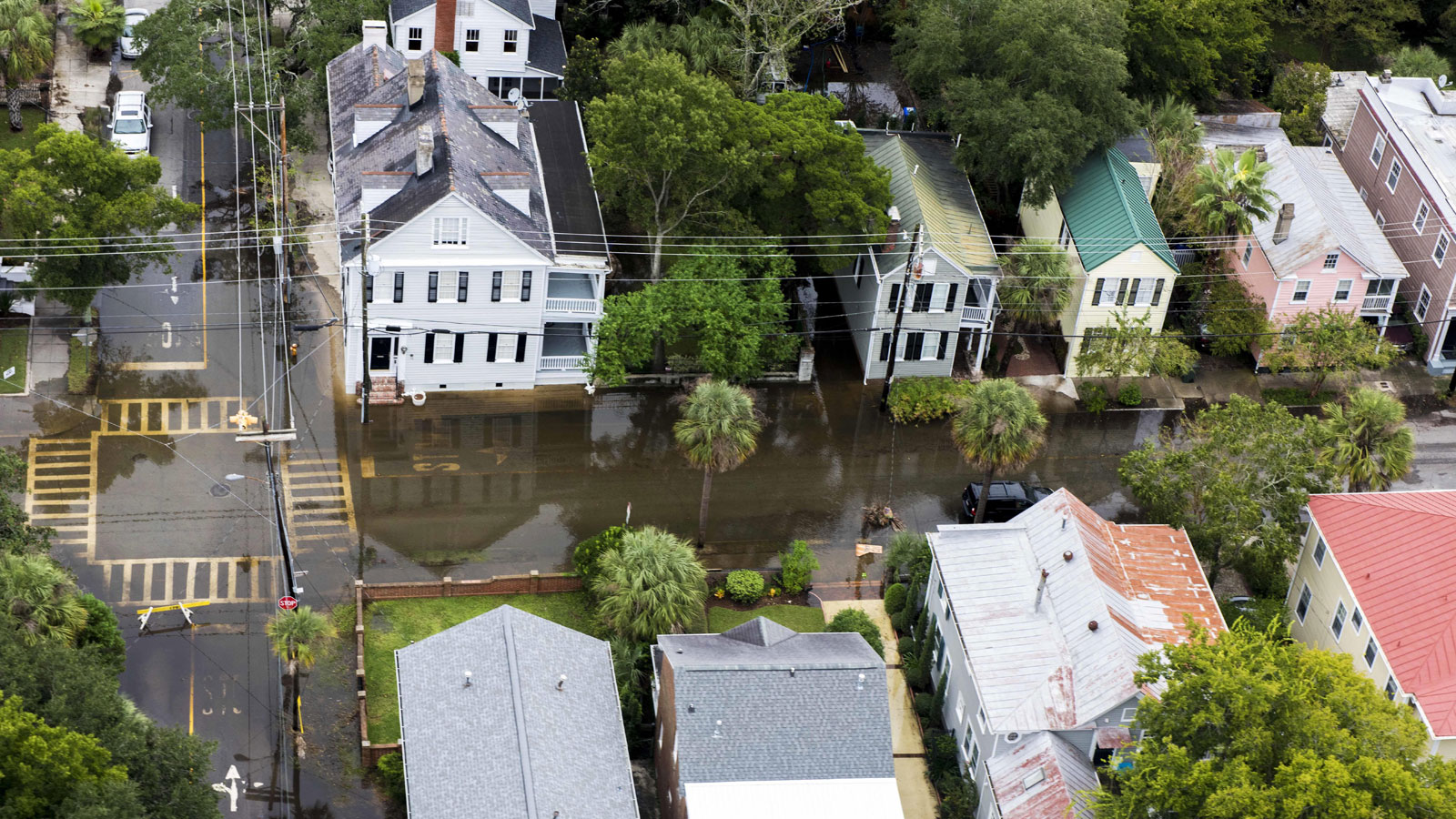 Flooded homes and street