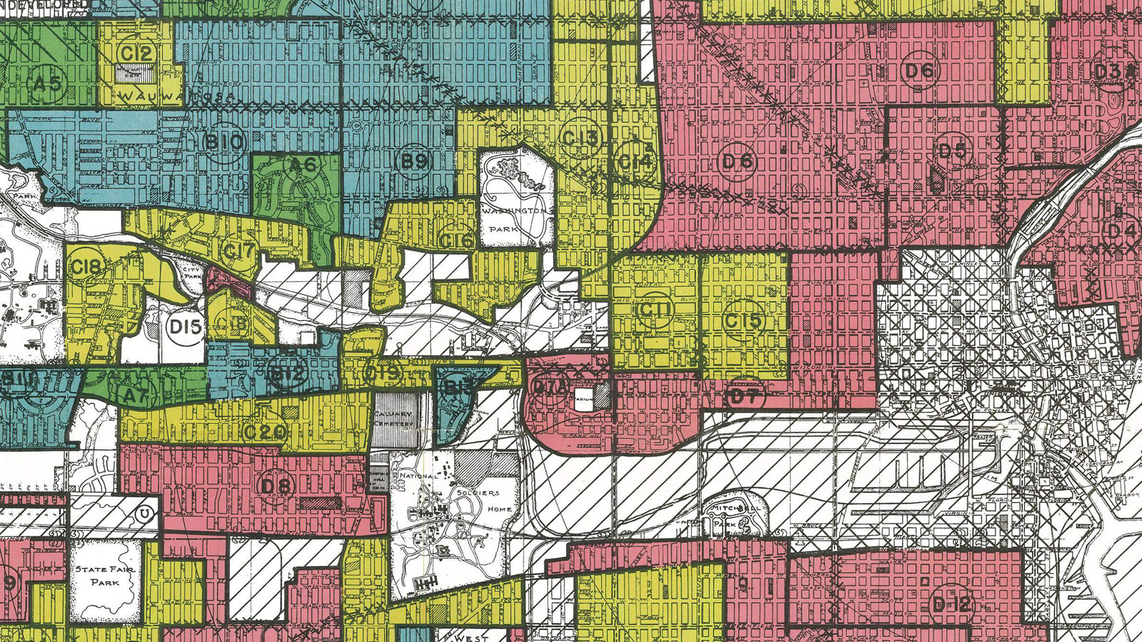 National Archive redlining map of Milwaukee