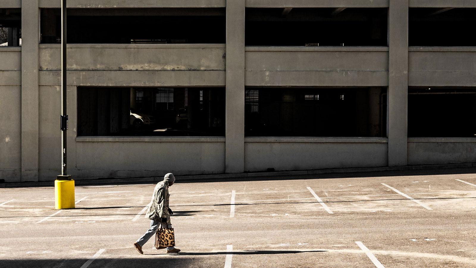 Man walking on cement
